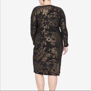 RACHEL Rachel Roy Dresses - Rachel Roy Floral Foil Print Wrap Dress Black